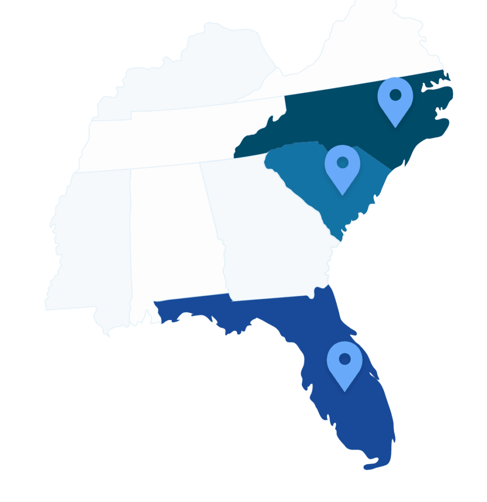 APG service map with NC, SC, and FL marked